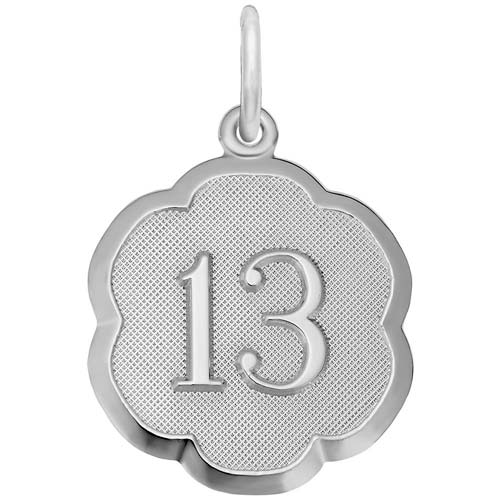 14K White Gold Number Thirteen Scalloped Charm by Rembrandt Charms
