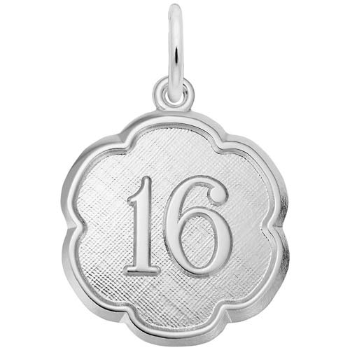 Sterling Silver Number Sixteen Scalloped Charm by Rembrandt Charms