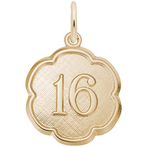 14K Gold Number Sixteen Scalloped Charm by Rembrandt Charms