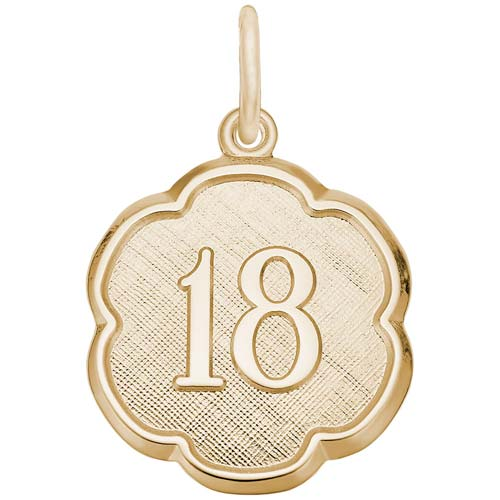 Gold Plate Number Eighteen Scalloped Charm by Rembrandt Charms