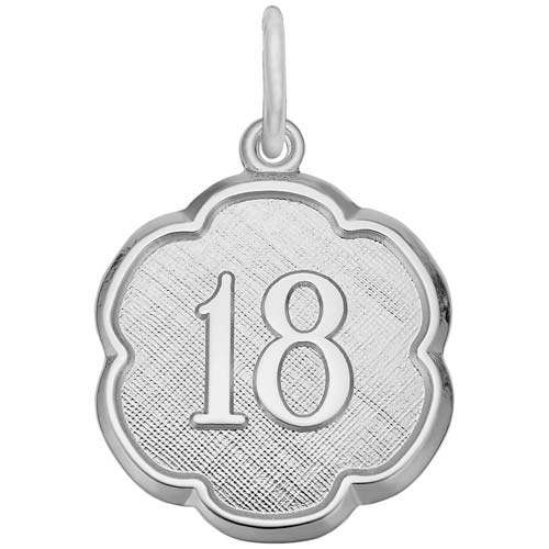 14K White Gold Number Eighteen Scalloped Charm by Rembrandt Charms