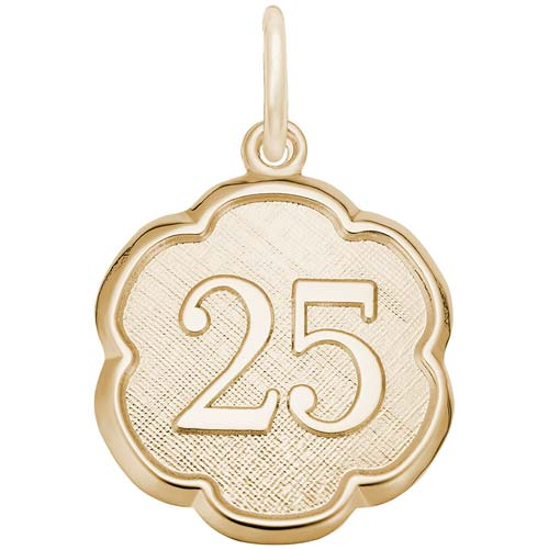 Gold Plate Number 25 Scalloped Disc Charm by Rembrandt Charms