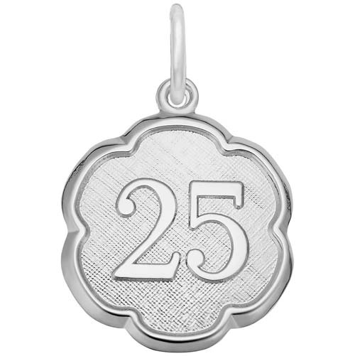 14K White Gold Number 25 Scalloped Disc Charm by Rembrandt Charms