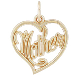10K Gold Mother's Open Heart Charm by Rembrandt Charms