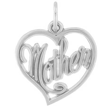 14K White Gold Mother's Open Heart Charm by Rembrandt Charms