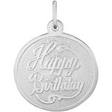 14K White Gold Happy Birthday Disc Charm