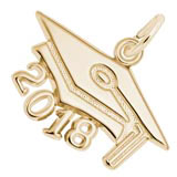 10K Gold 2018 Graduation Cap Large Charm