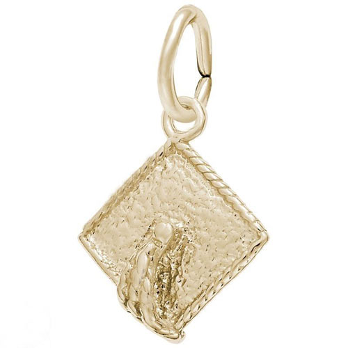 Gold Plate Graduation Cap Accent Charm by Rembrandt Charms