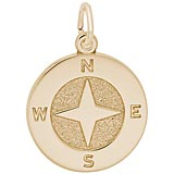 14K Gold Compass Charm