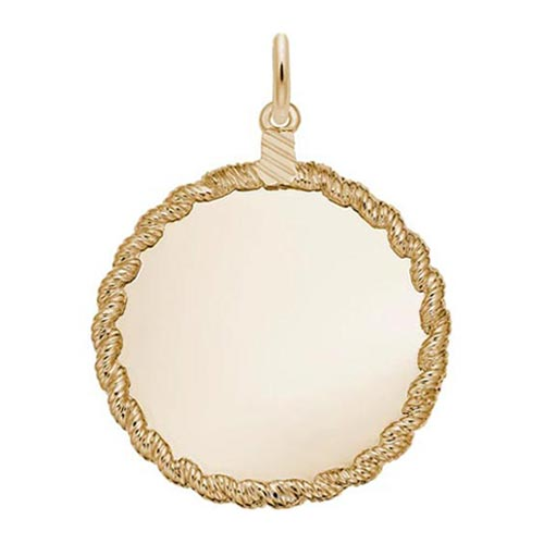14K Gold Small Twisted Rope Disc Charm by Rembrandt Charms