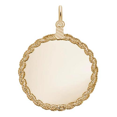 Gold Plated Twisted Rope Disc Charm by Rembrandt Charms