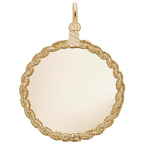 10K Gold Large Twisted Rope Disc Charm by Rembrandt Charms