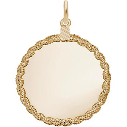 Gold Plated X-L Twisted Rope Disc Charm by Rembrandt Charms