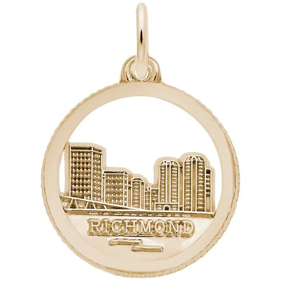 Gold Plated Richmond Skyline Charm by Rembrandt Charms