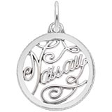 14K White Gold Nassau Faceted Charm by Rembrandt Charms