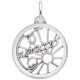 14K White Gold Curacao Faceted Charm by Rembrandt Charms