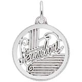 14K White Gold Steamboat Faceted Disc Charm by Rembrandt Charms