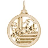 Gold Plate Steamboat Faceted Disc Charm by Rembrandt Charms
