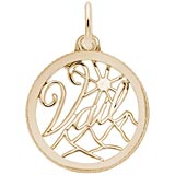 Gold Plate Vail, Colorado Faceted Charm by Rembrandt Charms