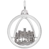 Sterling Silver St. Louis Skyline Faceted Charm by Rembrandt Charms