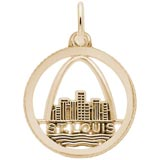 Gold Plate St. Louis Skyline Faceted Charm by Rembrandt Charms