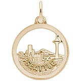 Gold Plated Seattle Skyline Faceted Charm by Rembrandt Charms