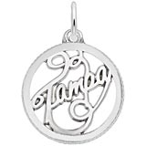 14K White Gold Tampa Faceted Charm by Rembrandt Charms