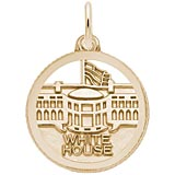 Gold Plated White House Faceted Charm by Rembrandt Charms