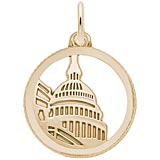 Gold Plated Capitol Building Faceted Charm by Rembrandt Charms