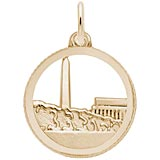 Gold Plated Washington Monument Disc Charm by Rembrandt Charms