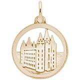 14K Gold Mormon Temple Disc Charm by Rembrandt Charms