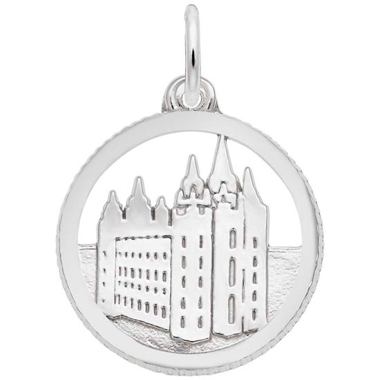 14K White Gold Mormon Temple Disc Charm by Rembrandt Charms