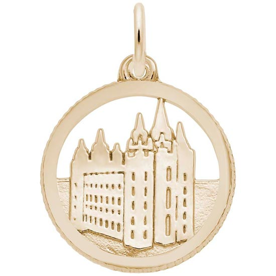 Gold Plated Mormon Temple Disc Charm by Rembrandt Charms