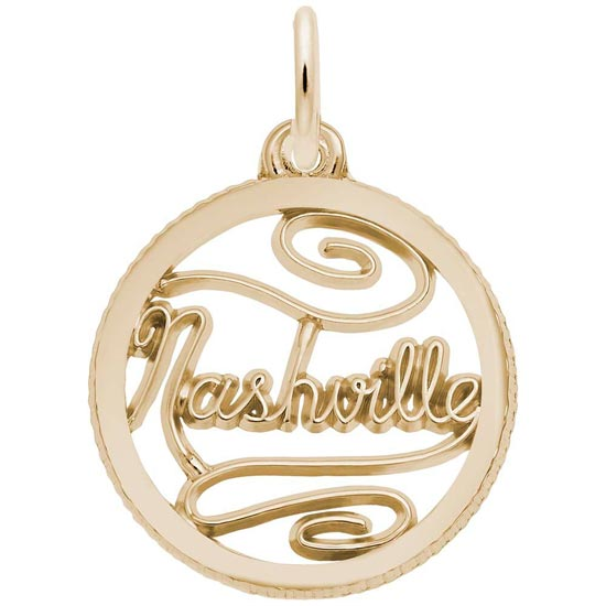 Gold Plate Nashville Faceted Disc Charm by Rembrandt Charms