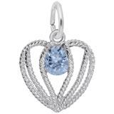 Sterling Silver Held in Love Heart - 03 Mar