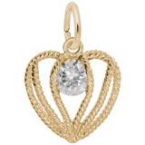 14K Gold Held in Love Heart - 04 April