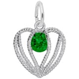 14K White Gold Held in Love Heart - 05 May