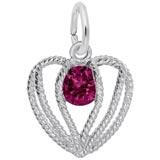 Sterling Silver Held in Love Heart - 07 July