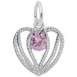 Sterling Silver Held in Love Heart - 10 Oct