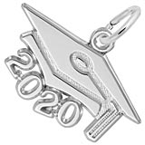 Rembrandt Charms Large 2020 Grad Cap Charm in 14K White Gold