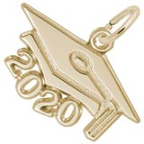 10K Gold 2020 Graduation Cap Large Charm