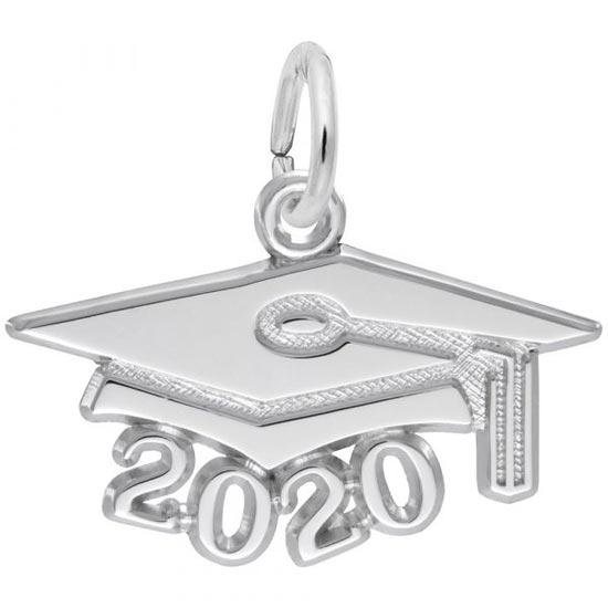 Rembrandt 2020 Graduation Cap Large Charm, 14K White Gold
