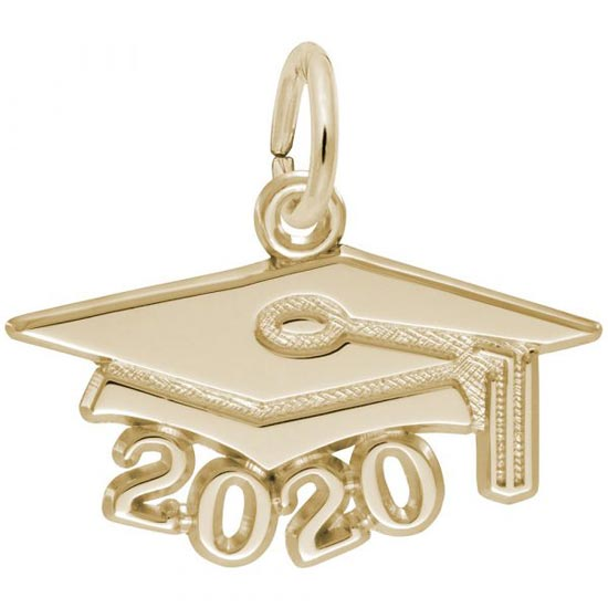 Rembrandt 2020 Graduation Cap Large Charm, 14K Yellow Gold
