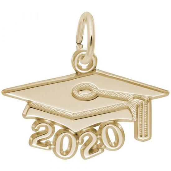 Rembrandt 2020 Graduation Cap Large Charm, Gold Plate