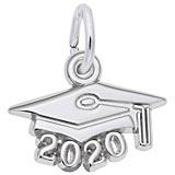 14K White Gold 2020 Graduation Cap Accent Charm