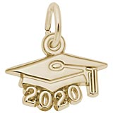 14K Gold 2020 Graduation Cap Accent Charm