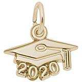 Rembrandt 2020 Graduation Cap Accent Charm, Gold Plate