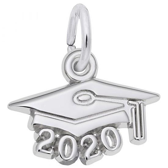 Rembrandt 2020 Graduation Cap Accent Charm, Sterling Silver