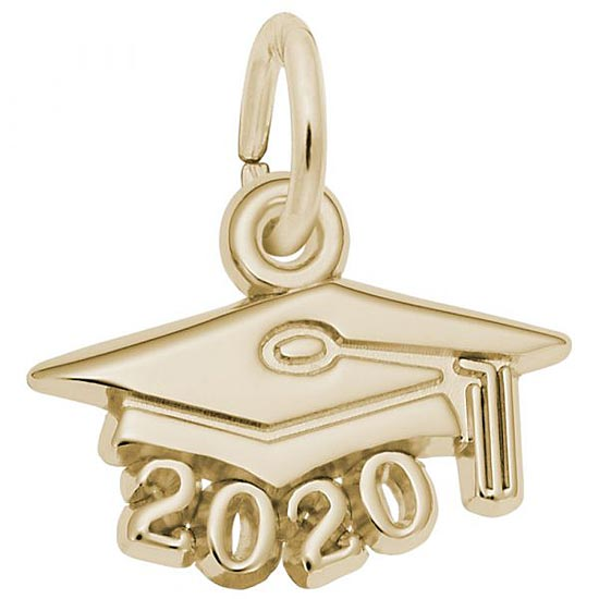 Rembrandt 2020 Graduation Cap Accent Charm, 14K Yellow Gold