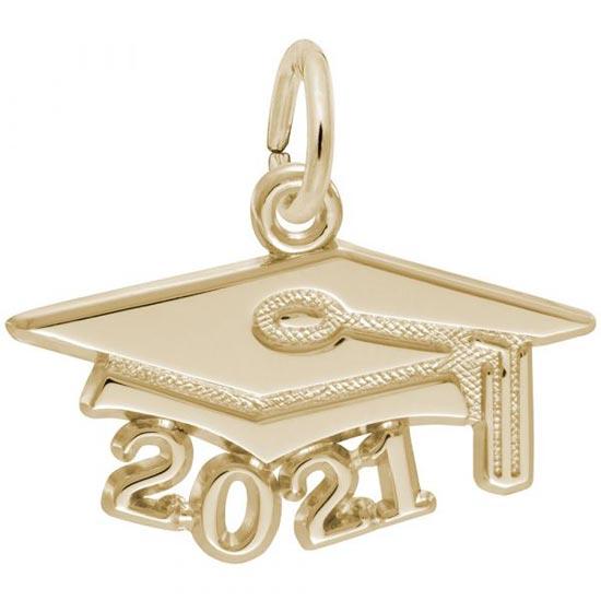 Rembrandt 2021 Graduation Cap Large Charm, 14K Yellow Gold